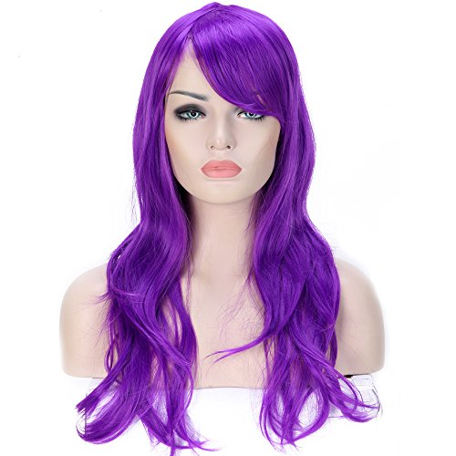 23 Inch Anime Cosplay Full Wig Curly Wavy with Bangs for Women Girls Lady Sexy and Beauty Japanese Heat Resistant Synthetic Hair Fiber (purple) for $<!--$10.90-->