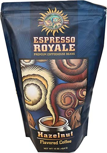 Espresso Royale Coffee, Hazelnut Flavored coffee,Medium Roast 16 Ounce Bag, Coffee Beans, 1lb Bag ()