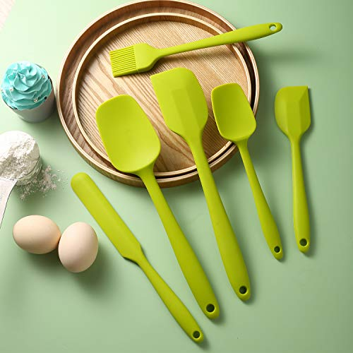PDJW Silicone Spatulas for Nonstick Cookware, One-Piece Seamless Design Rubber Spatula for Cooking Baking, Sturdy Heat Resistant 446℉ & BPA Free, 6PCS Green Spatulas Set for Kitchen