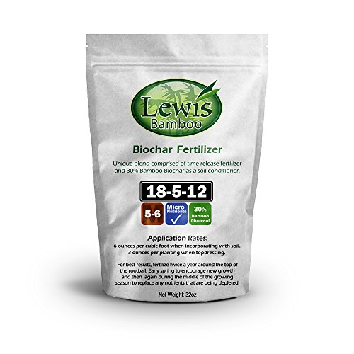 Lewis Bamboo - Biochar Fertilizer 18-5-12 (32oz Bag - 2 PACK) - Time Release Fertilizer with Bamboo (32 Ounce Fertilizer)
