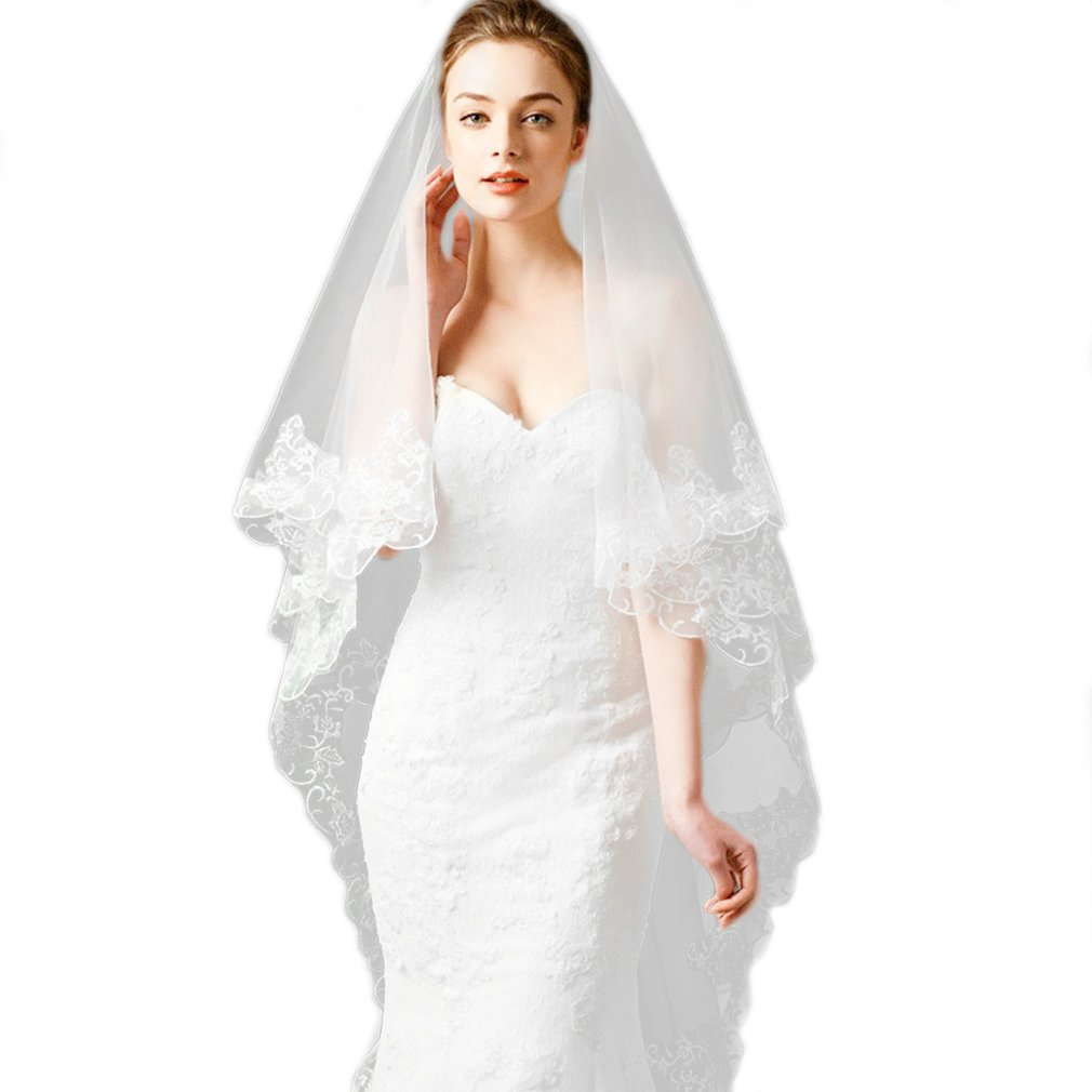 Cereoth lace rustic bridal veil ivory 2 Tiers fingertip Ribbon edge 1720T0021
