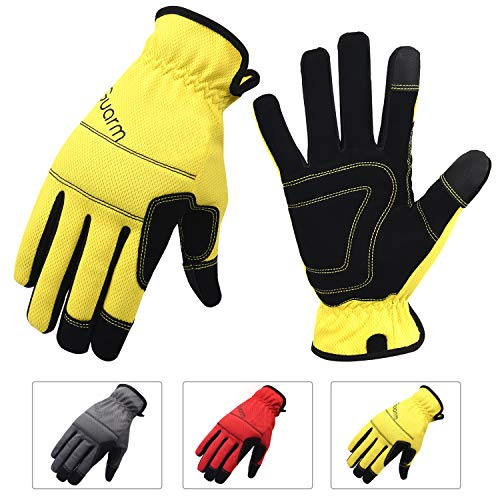 3 Pairs Work Gloves, Flex Grip Nubuck Leather Gardending Gloves, Touch Screen Safety Work Gloves(Red+Yellow+Gray) (Large)