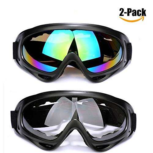 Ski Goggles,2 Pack Skate Glasses with UV 400 Protection Windproof and Dustproof for Kids,Boys&Girls,Youth,Men&Women,Anti-Glare Lenses for Riding Motorcycle Bikes Skiing (Clear and - Boys For Googles