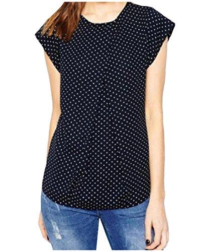 [xiaokong Women Wear to Work Tee Polka Dot Cap Sleeve Crewneck T-Shirt Navy Blue XL] (Model Womens Cap Sleeve T-shirt)