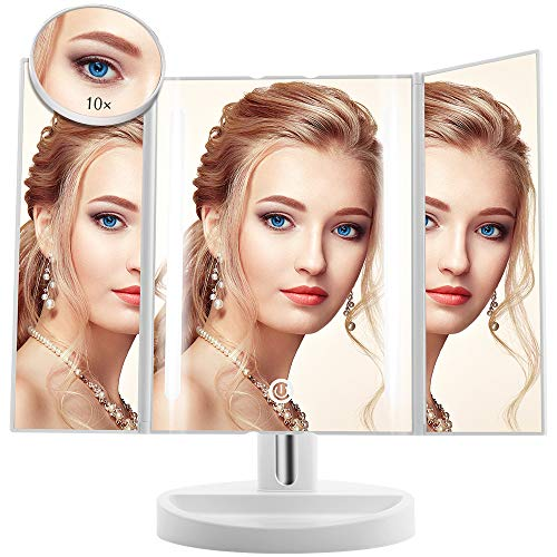 Led Lighted Makeup Mirror - Terresa Newest Vanity Mirror with Detachable 10X Magnifying Mirror, Portable and 180