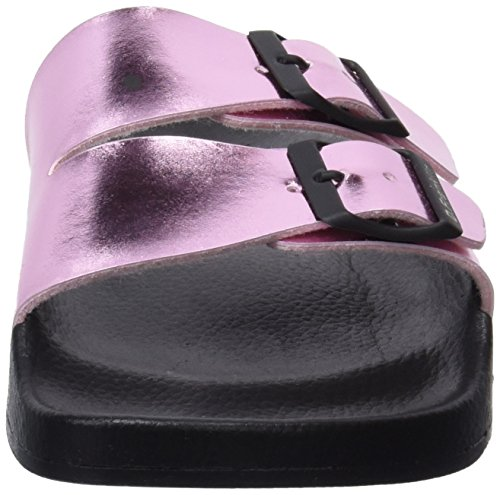 D. Franklin Damen Buckle Metal Slides Peeptoe Sandalen Pink (Metal Pink)