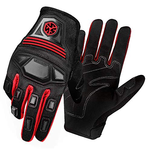 SCOYCO Spring Cycling Gloves,Breathable Nylon Reinforced Wear Resistant Full Finger Off-road Motorcycle Gloves for Scooter/ATV/Dirt-bike (Red,M)