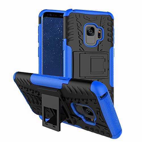 (Galaxy S9 Case, MCUK Heavy Duty Shockproof Hybrid Soft Silicone & Hard Back Cover Bumper Kickstand Feature Anti-Slip for Samsung Galaxy S9 (2018) (Black+Blue))