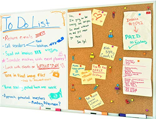 48 x 36 White Board and Cork Board Combination, Large Magnetic Bulletin Combo Board for Home or Office, Versatile Wall Mounted Dry Erase Message or Memo Board - 2 Markers, Eraser, Push Pins Included ()
