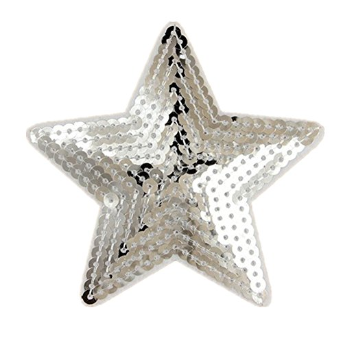 Ximkee Pack of 10 Shiny 5 Star Sequins Sew Iron on Applique Embroidered Patches-Silver Embroidered Sequin Applique