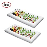 ShineMe 2 pcs Inflatable Ice Serving/Salad Bar Tray Food/Drink Holder Fruit Plate Kitchen Cooler Bin for Summer Pool Party Buffet/Table/Water BBQ/Picnic