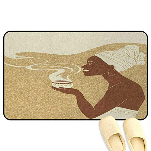 homecoco African Woman Mat Rug Smiling Happy Afro Lady with Hot Coffee Cup Seeds Cocoa Vintage Brown Pale Brown Cream 3D Digital Printing Mat W31 x L47 INCH ()