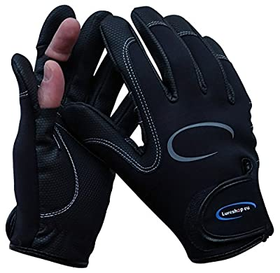 Stretch Neoprene Fishing Gloves 2 Cut Fingers - Best Use in Light Cold Weather Conditions - size M, L and XL