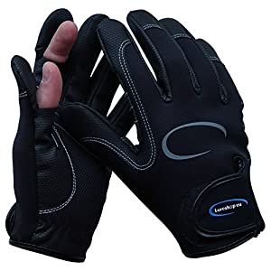 Stretch Neoprene Fishing Gloves 2 Cut Fingers - Best Use in Light Cold Weather Conditions - size L