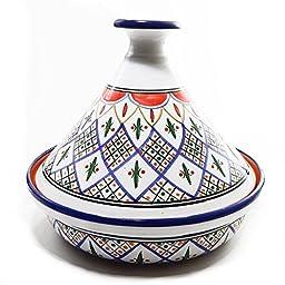 Le Souk Ceramique CT-TK-30 Cookable Tagine, 12-Inch, Tabarka Design