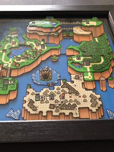 Amazon.com: Super Mario World 3D Map Art Shadow Box Diorama Art ...