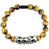 ONE ION Protector's Tiger eye Bracelet - Premium 10mm Tourmaline Tigereye - Permanent Magnets - 3 sizes (8.75 Inches)