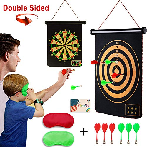 Safety Magnetic Dart Board for Kids Teens, Indoor Outdoor Double Sided Dartboard Bullseye Games Set for Boys Teenager Adults Family Carnival Birthday Party Games Leisure Sports -