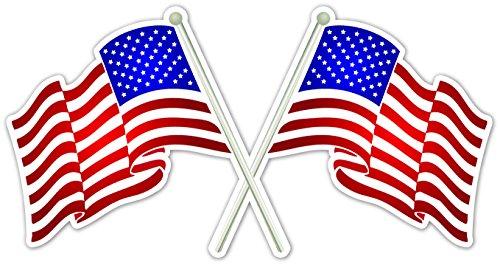 Double Proud US American Flag Crossing Vinyl Decal Bumper Sticker 4.5