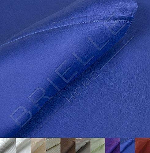 Blue French Pillow - Brielle 630 Thread Count Egyptian Cotton Sateen Premium 600 Plus Pillow Case Set, Standard, Cobalt Blue