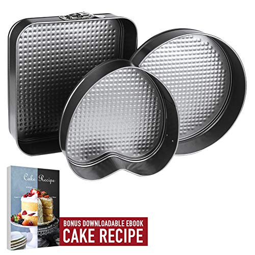 Springform Pan Baking Pans, Set of 3 Leakproof Cake Pans, Carbon Coated Steel Cheesecake Pan, Removable Bottom Quick-Release 10 Square 10 Round 9 Heart Shaped Cake Pan with Cake Recipe Ebook