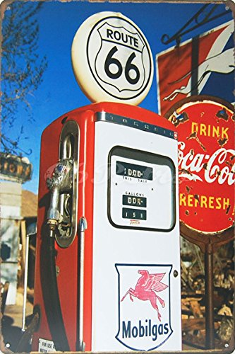 Mobilgas Route 66 Gas Station, Metal Tin Sign, Size 8