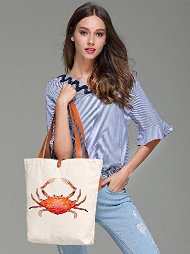 So'each Women's Crab Water Color Graphic Top Handle Canvas Tote Shoulder Bag