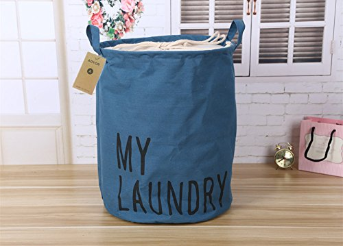 Printed Ramie Cotton Fabric Folding Laundry Storage Basket Toy Laundry Hamper with Handle (Deep Blue) (Bed Under Hamper)