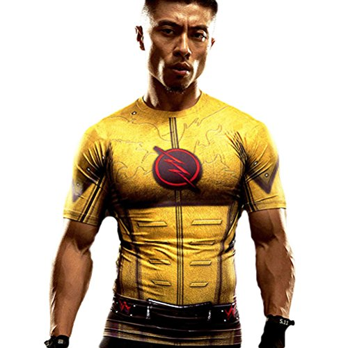 [HOCOOL Men's Compression Tee,Flash halloween costume Shirt S] (Flash Muscle Shirt Costumes)