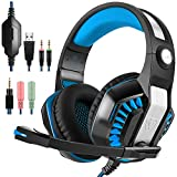 GM-2 Gaming Headset for PS4 Xbox One PC Laptop Smartphone Tablet Cell Phone, AFUNTA Stereo LED Headphone with Microphone and Y Splitter- Black+Blue