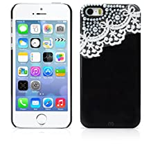 iPhone 5S Case, MagicMobile® Ultra Slim-Fit Protective Case for iPhone 5/5s Hard Lace Cute 3D Pearls Luxury Fashion Bling Dimonds Impact Resistant Cover for iPhone 5S Armor Thin Case | Raven Black