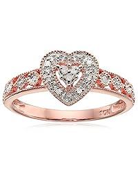 10k White Gold Diamond Heart Ring (0.04 cttw, I-J Color, I2-I3 Clarity)