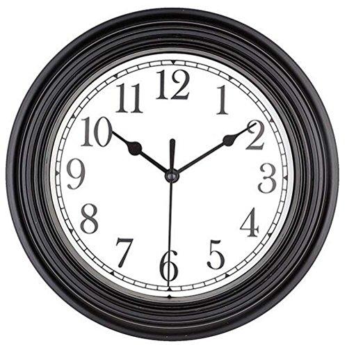 Bekith 9 inch Quartz Decorative Classic Clock Vintage Non Ticking Wall Clock, Black
