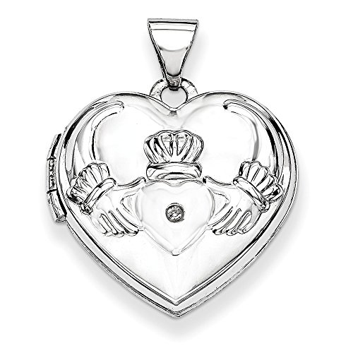 14k White Gold Diamond Heart Shaped Irish Claddagh Celtic Knot Photo Pendant Charm Locket Chain Necklace That Holds Pictures Fine Jewelry Gifts For Women For Her ()