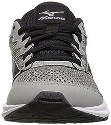 Mizuno Boys\' Wave Rider 20 Jr Running Shoe, Light Grey/Black, 5.5 D US Big Kid
