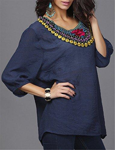 Camiseta Mujer YOGLY Blusa Camiseta3/4 Manga Cuello Bordado O-Cuello del Algodon de Las Mujer Blusa Floja azul oscuro