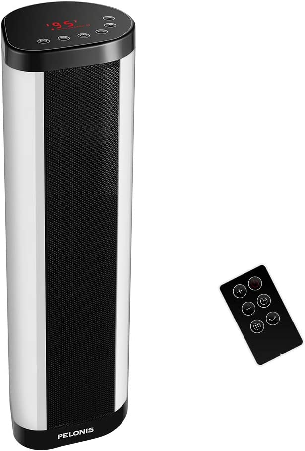 Space Heater, 1500W Internal Oscillating Instant Heating Electric Heater, Portable Tower Heater with Thermostat, 24Hr Programmable Timer, Safety Overheat Protection for Indoor, Home, Office