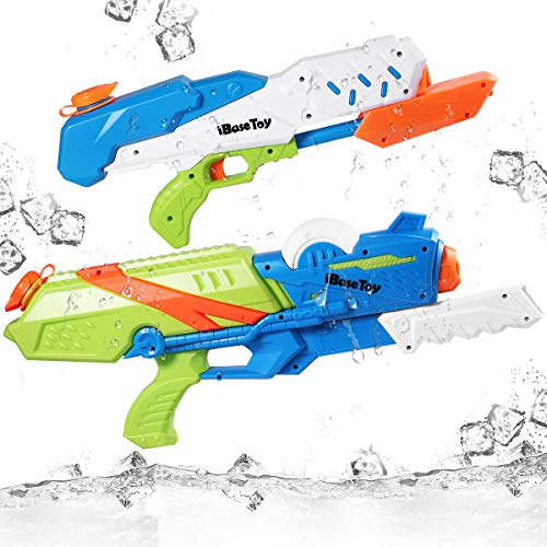 iBaseToy Super Soaker Water Gun, 2 Pack 33ft Long Range Water Blaster for Kids Adults, 37oz / 20oz High Capacity Squirt Toy Swimming Pool Beach Sand Water Fighting Toy ()