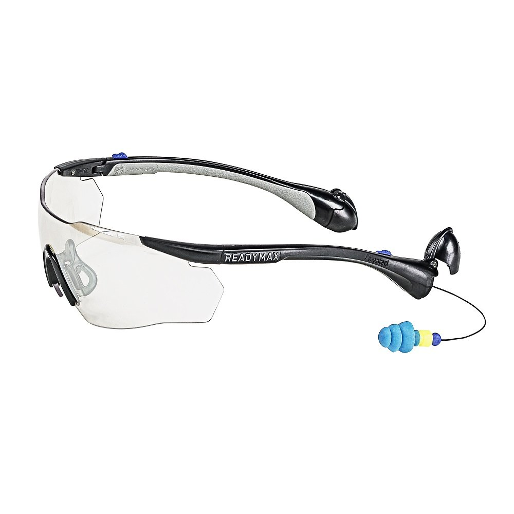 ReadyMax SoundShield Men's Sport Style, Black Frame, Indoor/Outdoor Anti-Fog, Scratch Resistant Safety Glasses w/Built in Hearing Protection