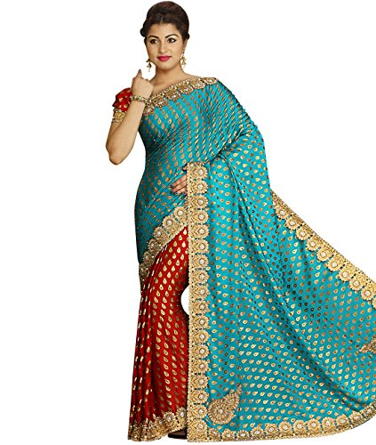 Indian Ethnic Faux Georgette Sky Blue and Red Fancy Saree...