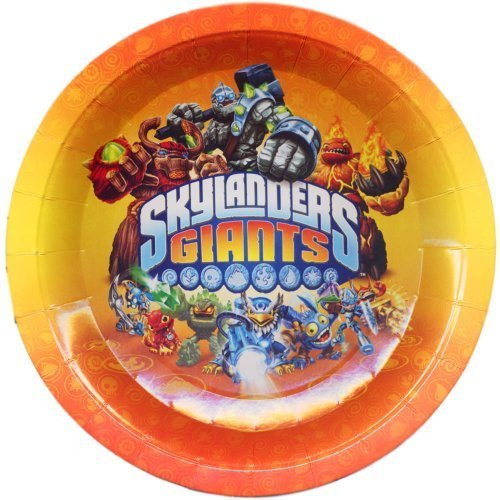 """8 Skylanders Giants Video Game Party Disposable Large 9"""" Paper Plates ."""