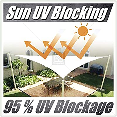 ColourTree Customized Size Order to Make Sun Shade Sail Canopy Mesh Fabric UV Block Triangle TAPT24 Beige - Commercial Standard Heavy Duty - 190 GSM - 3 Years Warranty Custom Size : Garden & Outdoor