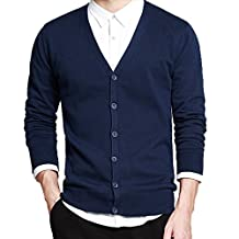 Men's Basic Long Sleeve Button Down V Neck Knitted Cardigan