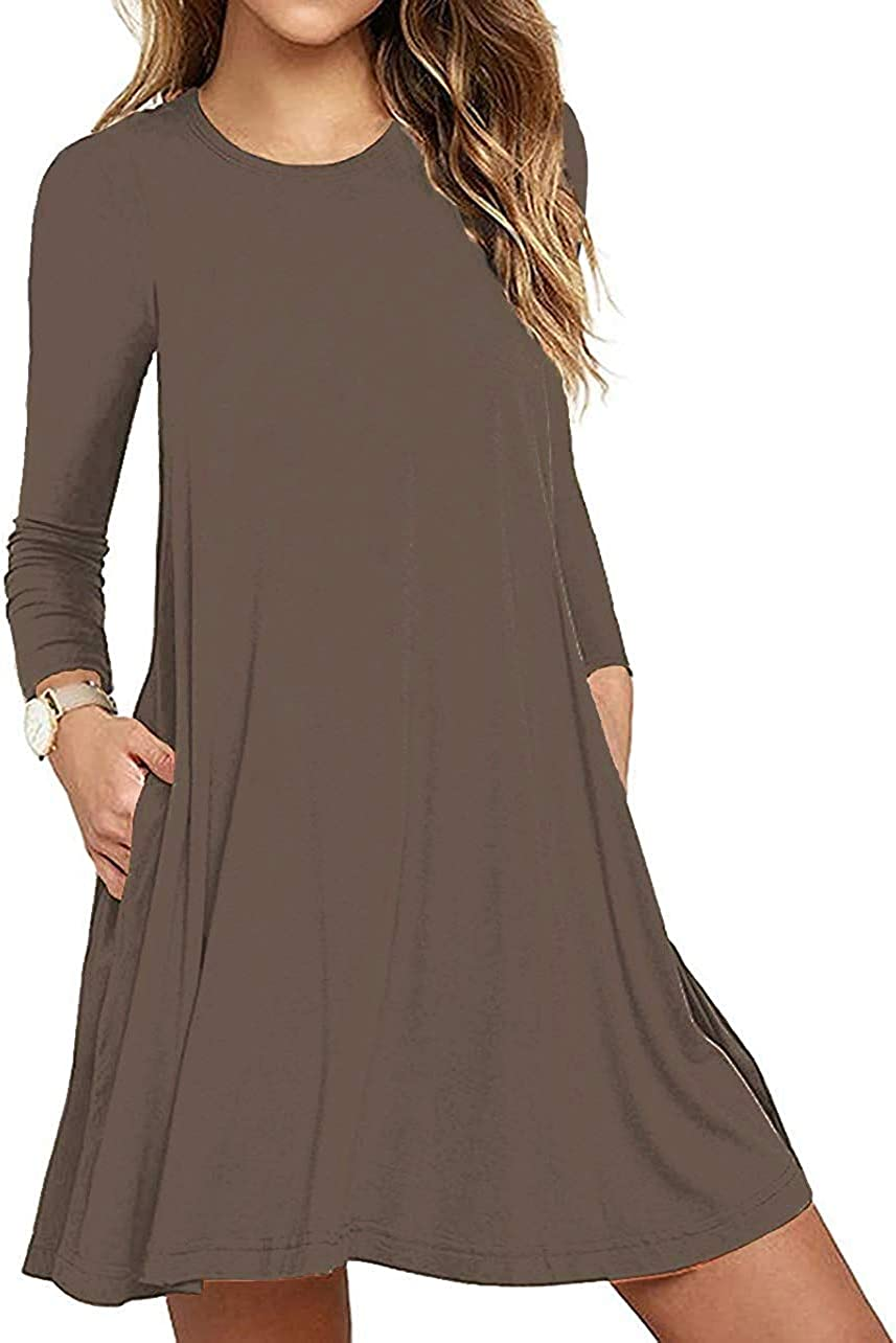 Womens Long Sleeve Tshirt Dress Casual Swing Dresses Round Neck with Pockets
