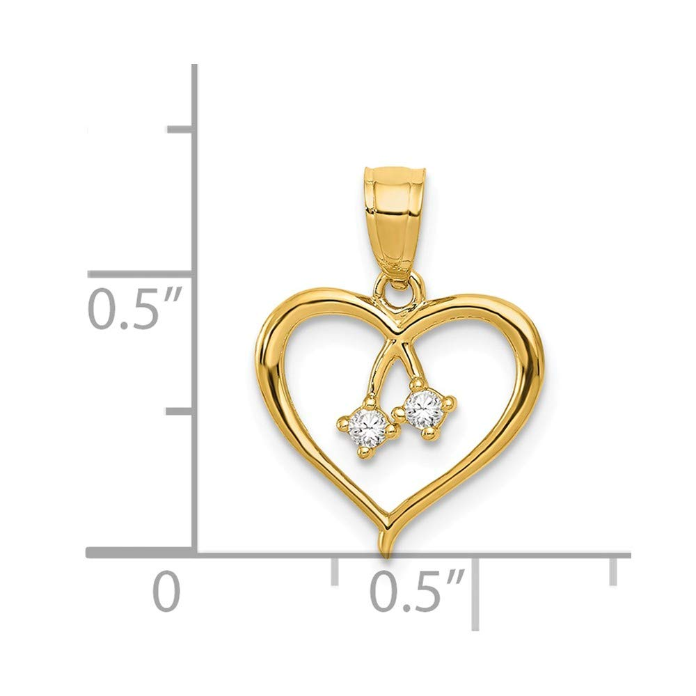 Mia Diamonds 14k Yellow Gold 2-CZ Cut-out Heart Pendant