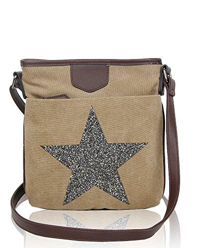 Sparkling Vintage Beige Shoulder Rhinestones Star Slim Canvas Redfox Women's Messenger Big Bag gH5qwYp