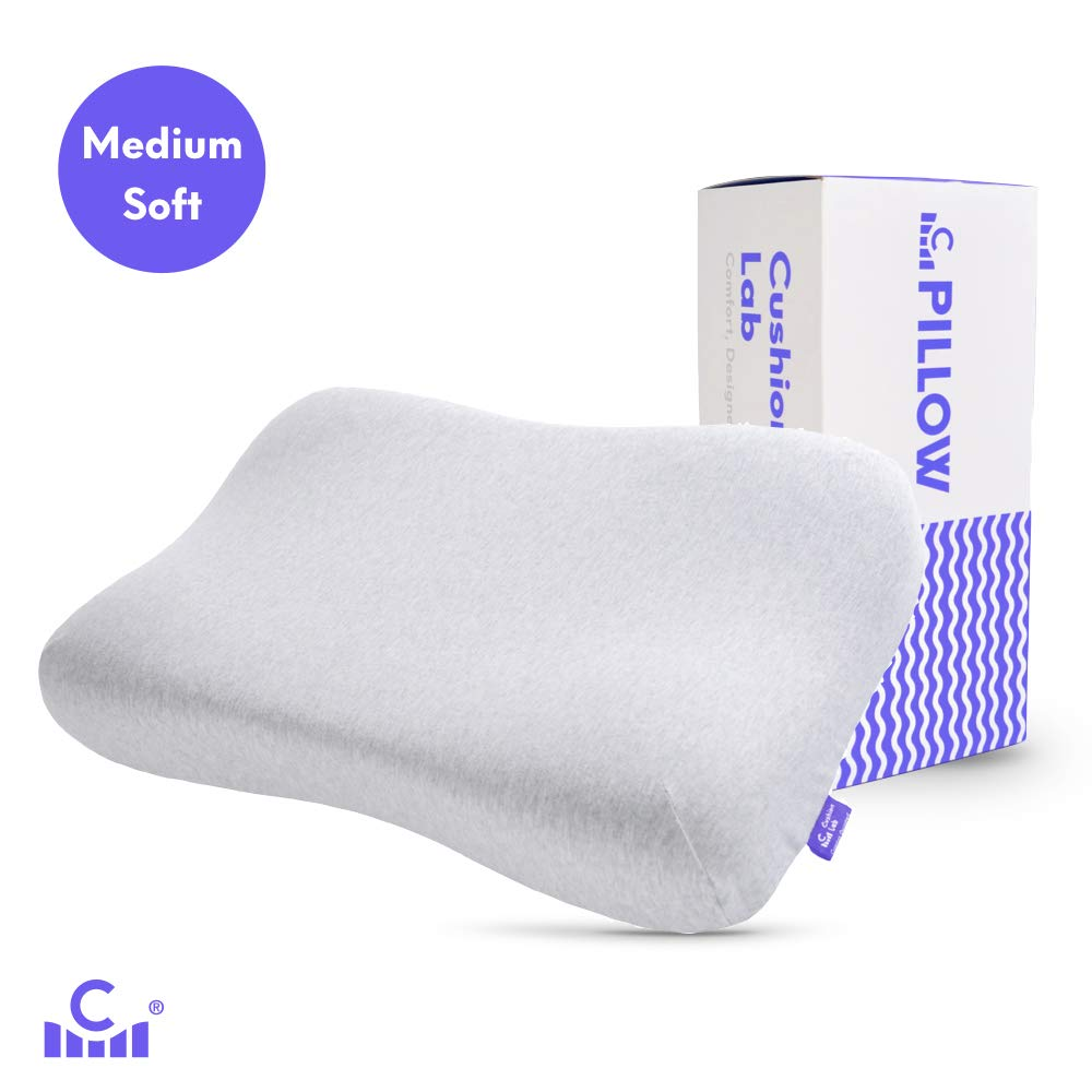Cushion Lab Soft Feel Gel Infused Memory Foam Ergonomic Contour Pillow - Gently Cradle Your Head & Neck in Soft Conforming Comfort, Orthopedic Design Cervical Pillow for All Sleepers, CertiPUR US by C CUSHION LAB