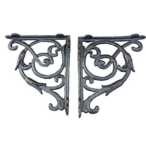 Starworld- 2 set Heavy durable cast iron design Vintage Antique Style A pair Bracket Garden Braces Rustic Shelf Bracket for decoration (Size:7 x 6 inch ) Black color