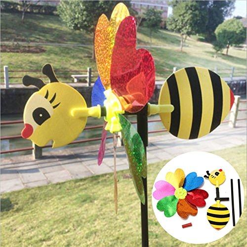 CynKen DIY Windmill Kit Bee LadyBug Random Insect Pattern Wind Spinner Whirligig Toy Lawn Yard Camp D¨¦cor(Patterns Random,Bee, Ladybug, etc.)
