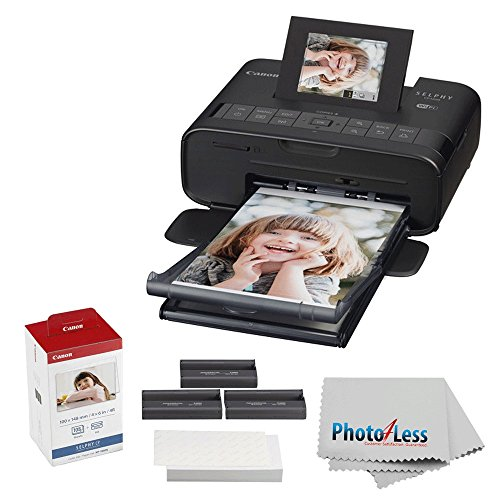 Canon SELPHY CP1200 Wireless Compact Photo Printer with KP-108IN Photo Paper & Ink Kit (Black) + Photo4Less Cleaning Cloth - Ultimate Dye-Sub Printer Bundle by PHOTO4LESS